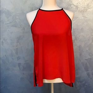 Red & Black Shear High Neck Tank Top Sz L